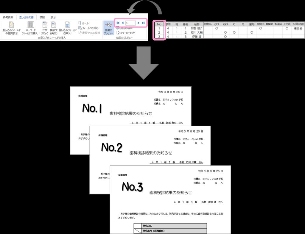 「結果のプレビュー」の右部にあるボックスの中の数字に応じてレコードが切り替わります。