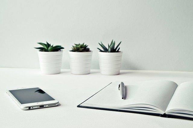 ノートとボールペン、スマートフォン、植物