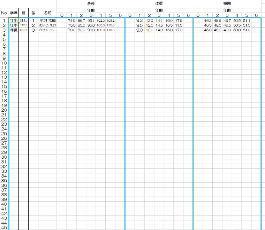 「データ(男子)」のシートです。名前、身長、体重などのデータを入力します。