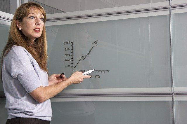 壁にグラフを描く女性
